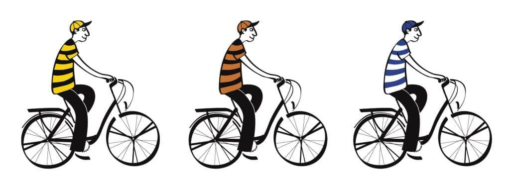 trois hommes à vélo pour la bière Siméon